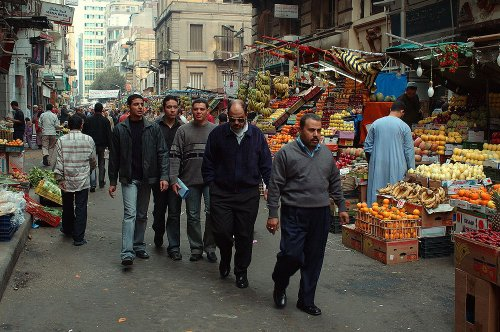 Men walking shopping street